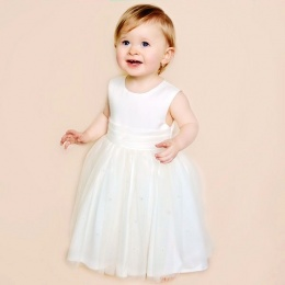 Baby Girls Ivory Diamante Organza Christening Dress