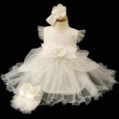Baby Girls Ivory Flower Tulle Dress, Headband & Shoes
