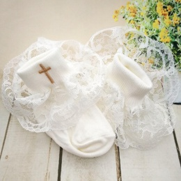 Baby Girls Ivory Lace Socks with Gold Cross