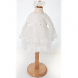 Baby Girls Ivory Lace Long Sleeve Dress & Headband