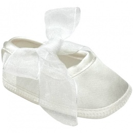 Baby Girls Ivory Satin & Organza Bow Christening Shoes