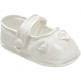 Baby Girls Ivory Dupion Rosebud Christening Shoes