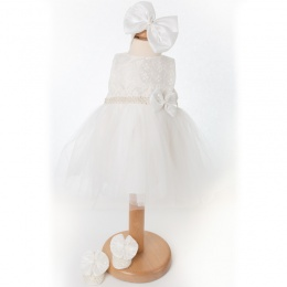 Baby Girls Ivory Tulle Dress, Headband & Shoes