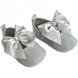 Baby Girls Light Grey Patent Satin Bow Pram Shoes