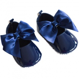 Baby Girls Navy Patent Satin Bow Pram Shoes