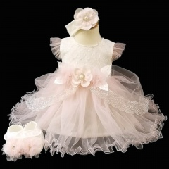 Baby Girls Pink Flower Tulle Dress, Headband & Shoes