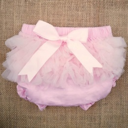Baby Girls Pink Frilly Organza & Bow Cotton Knickers