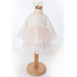Baby Girls Pink & Ivory Lace Long Sleeve Dress & Headband
