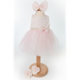 Baby Girls Pink & Ivory Tulle Dress, Headband & Shoes