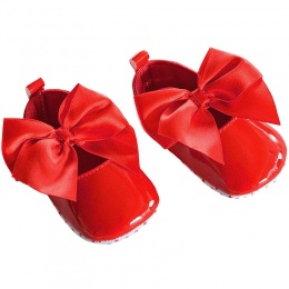 Baby Girls Red Patent Satin Bow Pram Shoes