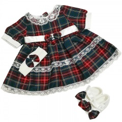 Baby Girls Tartan Lace Dress, Headband & Shoes