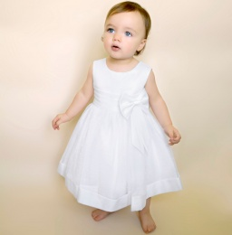 Baby Girls White Bow Organza Christening Dress