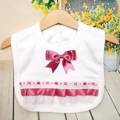 White Cotton Bib with Lace & Dusky Pink Satin Ribbon Bow