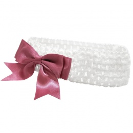 Baby Girls White Crochet Headband with Dusky Pink Satin Bow