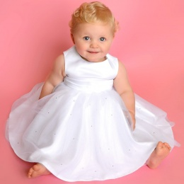 Baby Girls White Diamante Organza Christening Dress