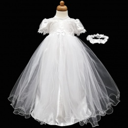 Baby Girls White Lace & Tulle Christening Gown & Headband
