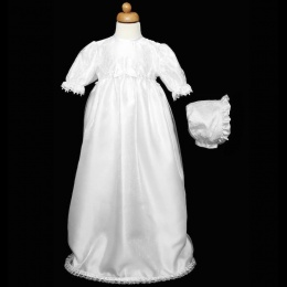 Baby Girls White Lace & Organza Sequin Christening Gown & Bonnet