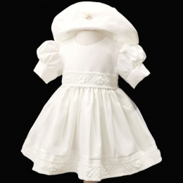 Baby Girls Ivory Embroidered Lace Trim Dress & Hat