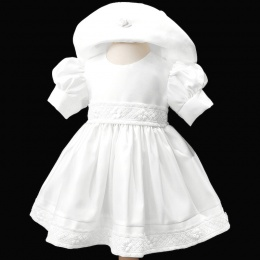 Baby Girls White Embroidered Lace Trim Dress & Hat