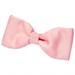 Boys Baby Pink Satin Plain Dickie Bow Tie on Elastic