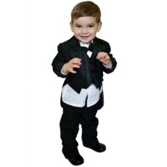 Baby Boys Black 5 Piece Tuxedo Tail Dinner Suit