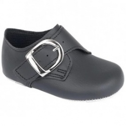 Baby Boys Black Matt Buckle Pram Shoes 'Baypods'