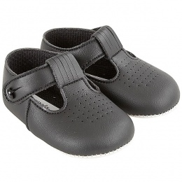 Baby Boys Black Matt T-bar Pram Shoes 'Baypods'