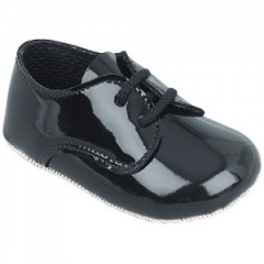 Baby Boys Black Patent Lace Pram Shoes 'Baypods'