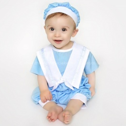 Baby Boys Blue Sailor Style Christening Romper & Hat
