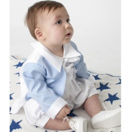 Baby Boys Blue & White Diamond Tuxedo Christening Romper Suit