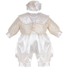 Baby Boys Gold & Ivory Check 3 Piece Satin Christening Romper
