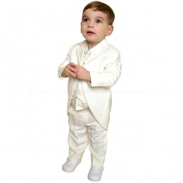 Boys Ivory 5 Piece Tail Coat Suit