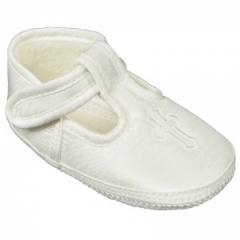 Baby Boys Ivory Cross Dupion T-Bar Christening Pram Shoes