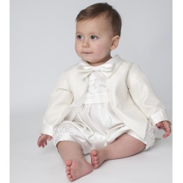 Baby Boys Ivory Diamond Tuxedo Christening Romper Suit e3a78fb39b94