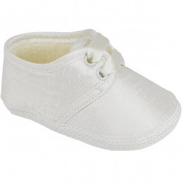 Baby Boys Ivory Dupion Satin Christening Pram Shoes 'Early Days'