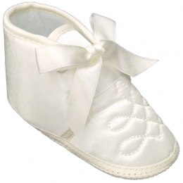 Baby Boys Ivory Satin Emb Christening Baptism Pram Shoes