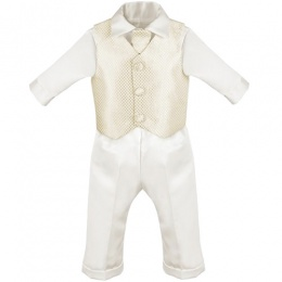 Baby Boys Ivory & Gold Check 4 Piece Satin Christening Suit