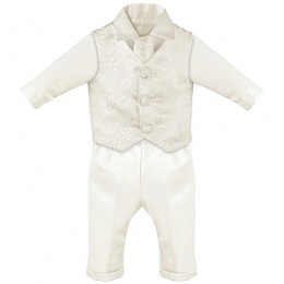 Baby Boys Ivory Swirl 4 Piece Satin Christening Suit