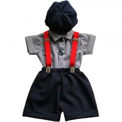 Baby Boys Navy Shorts Suit with Red Braces