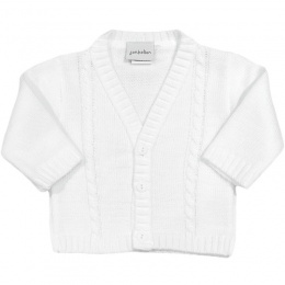 Baby Boys White Cable Knit Cardigan