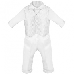 Baby Boys White Check 4 Piece Satin Christening Suit