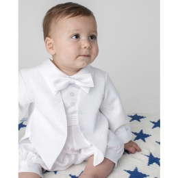 Baby Boys White Diamond Tuxedo Christening Romper Suit