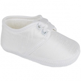 Baby Boys White Dupion Satin Christening Pram Shoes 'Early Days'
