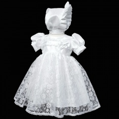 Baby Girls White Lace Bow Dress & Bonnet