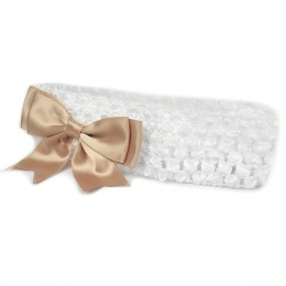 Baby Girls White Crochet Headband with Gold Satin Bow
