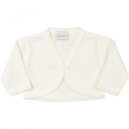 Baby Girls Ivory Plain Acrylic Long Sleeved Bolero