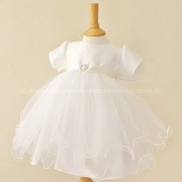 Baby Girls Ivory Diamante Tulle Christening Dress