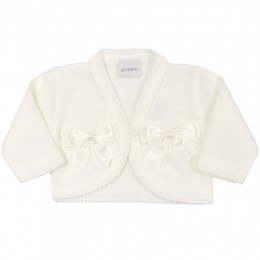 Baby Girls Ivory Double Bow Acrylic Bolero
