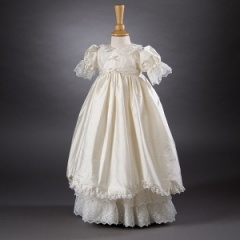 Baby Girls Ivory Lace Millie Grace 'Ruby' Silk Christening Gown & Bonnet