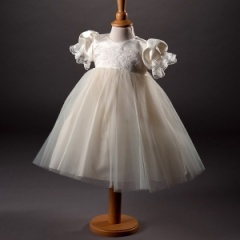 Baby Girls Ivory Millie Grace 'Nerice' Lace & Organza Christening Dress